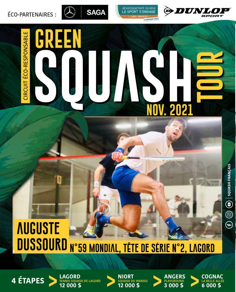 affiche PSA Green Tour Squash avec Auguste Dussourd